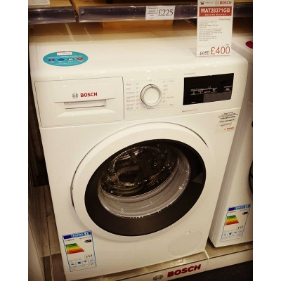Bosch WAT28371GB Washing Machine.  Perfect for families with its 9KG capacity and 1400 spin.  RRP £650 and it's on sale for £400.  Take advantage of the Bosch Choice Promotion and get £100 cashback.  Whilst stock lasts  @boschhomeuk #washingmachines #washing #sale #dealoftheday #cashback #bosch #washers #german #germanengineering